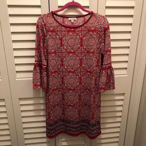 Max Studio Printed Bell Sleeve Jersey Dress